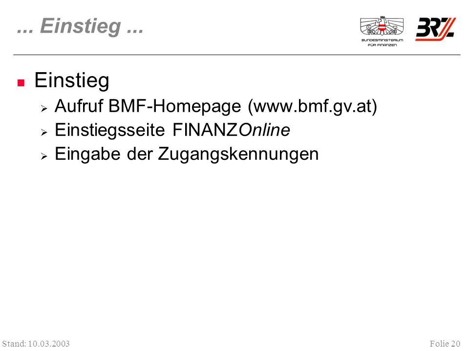 ... Einstieg ... Einstieg Aufruf BMF-Homepage (www.bmf.gv.at)