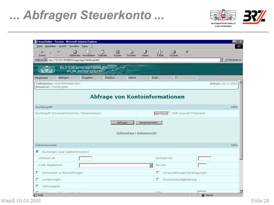 ... Abfragen Steuerkonto ... Stand: 10.03.2003