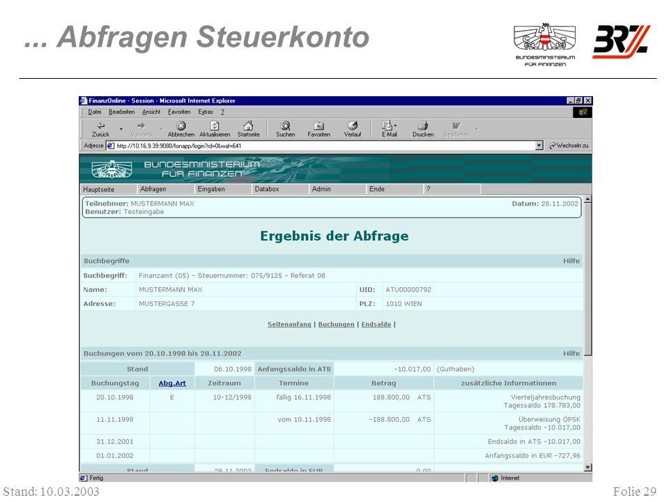 ... Abfragen Steuerkonto Stand: 10.03.2003