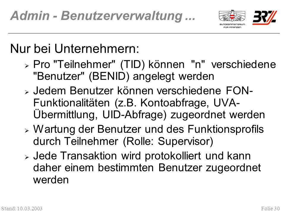 Admin - Benutzerverwaltung ...