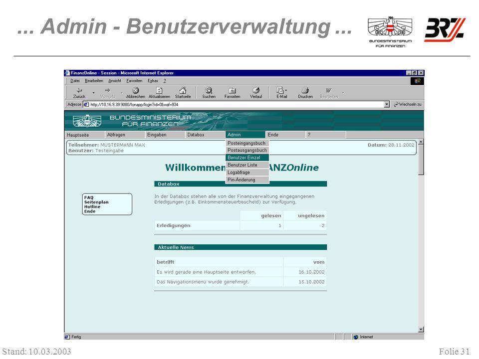 ... Admin - Benutzerverwaltung ...