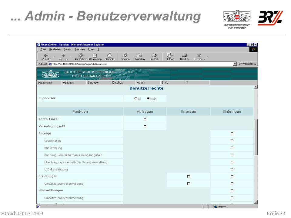 ... Admin - Benutzerverwaltung