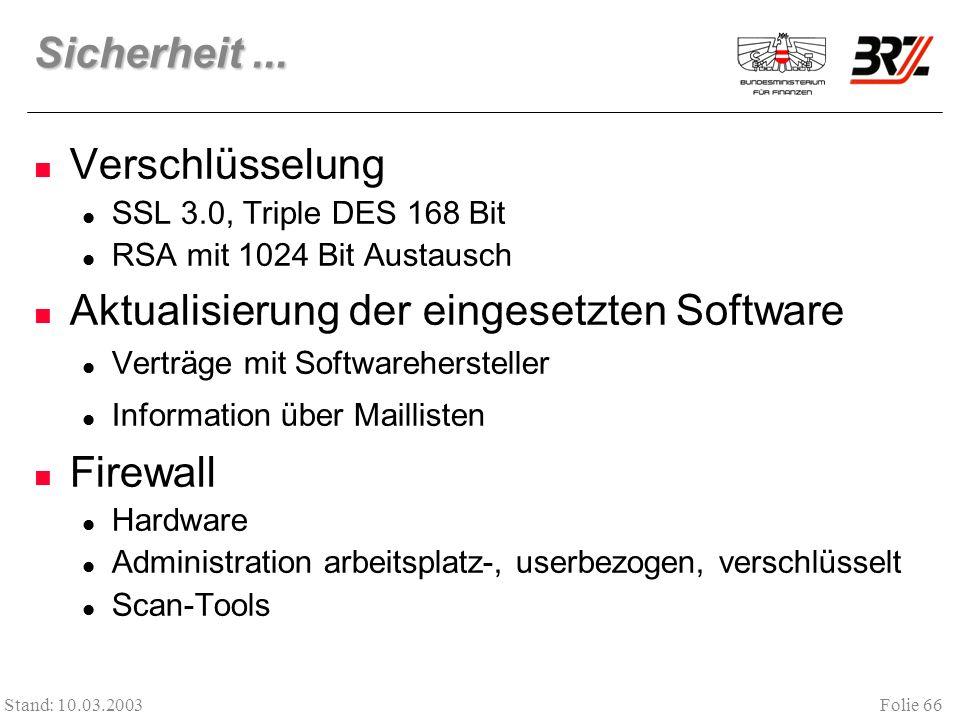 Aktualisierung der eingesetzten Software