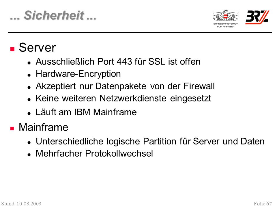 ... Sicherheit ... Server Mainframe