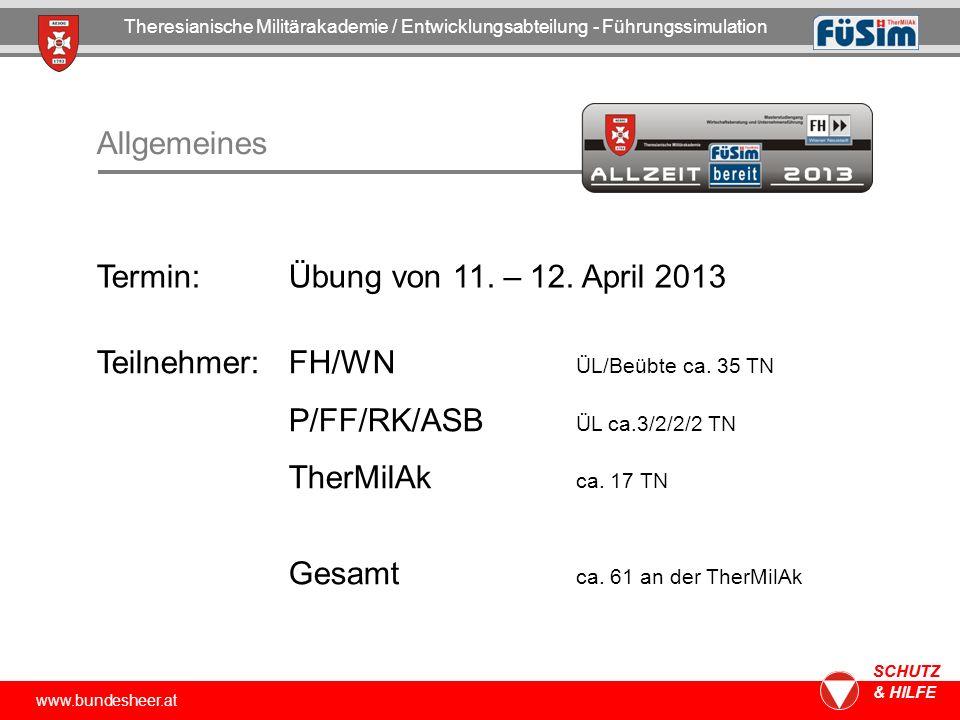 Termin: Übung von 11. – 12. April 2013