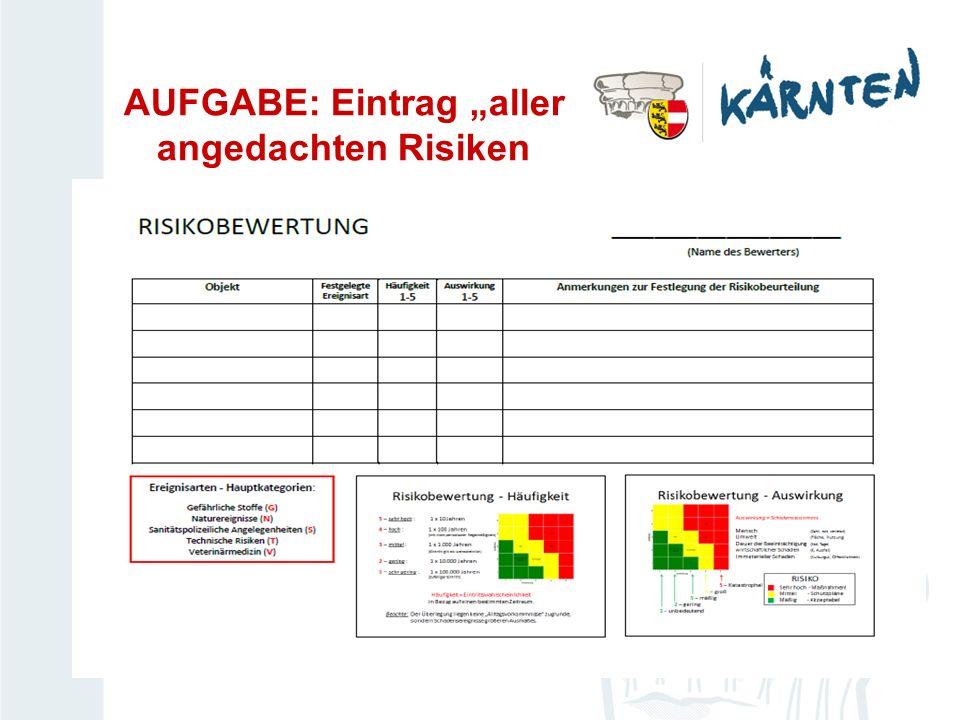 """AUFGABE: Eintrag """"aller angedachten Risiken"""