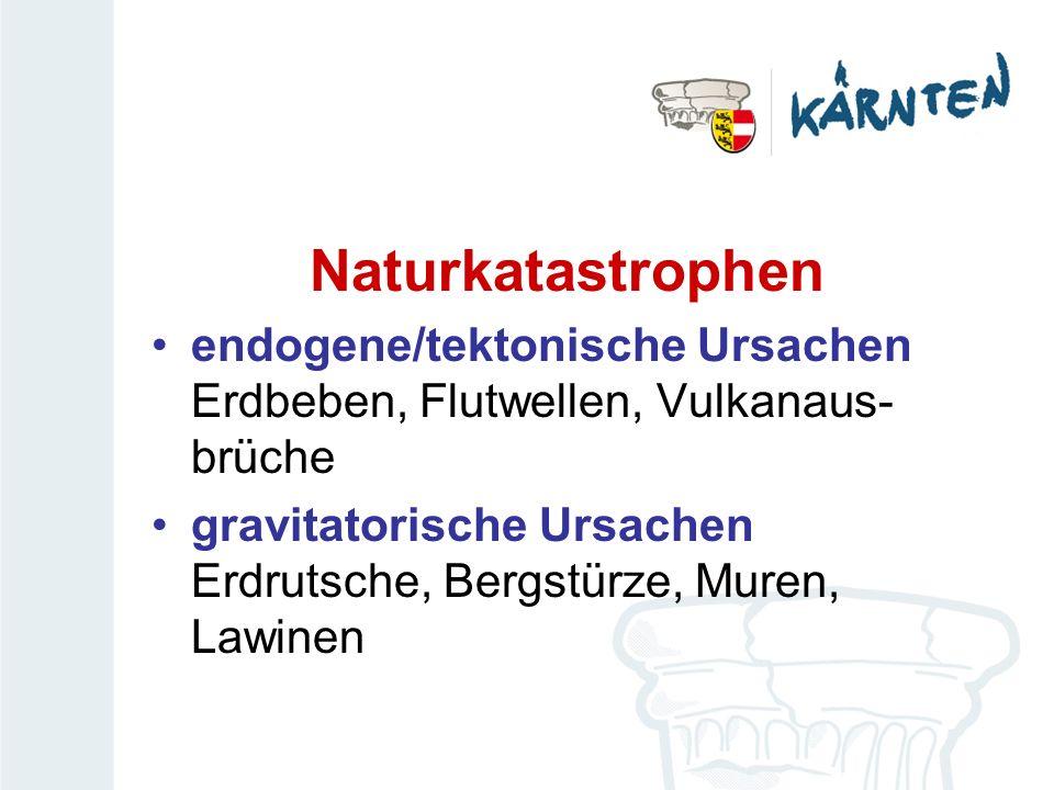 Naturkatastrophen endogene/tektonische Ursachen Erdbeben, Flutwellen, Vulkanaus- brüche.