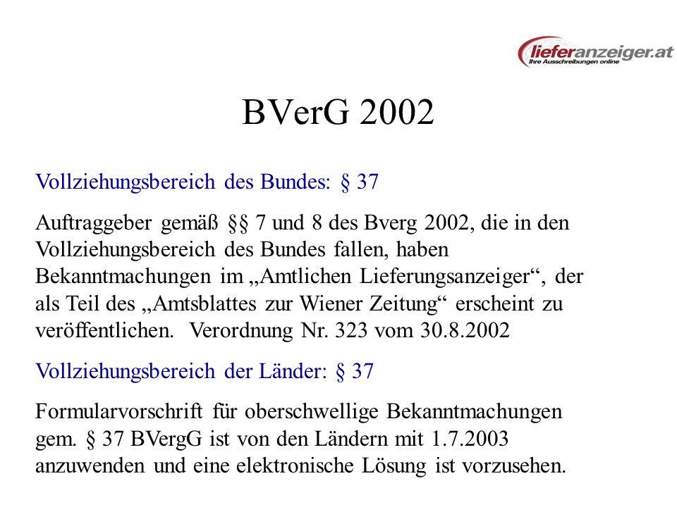 BVerG 2002 Vollziehungsbereich des Bundes: § 37