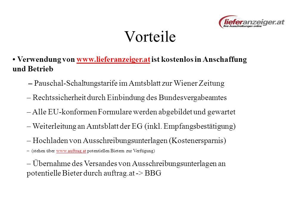Vorteile • Verwendung von www.lieferanzeiger.at ist kostenlos in Anschaffung und Betrieb.