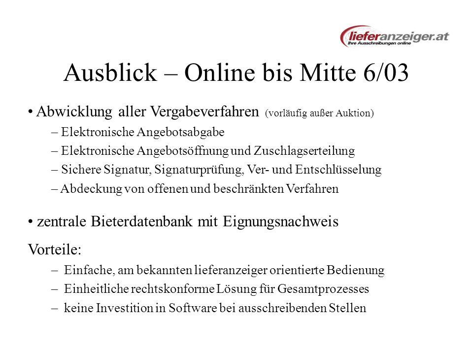 Ausblick – Online bis Mitte 6/03