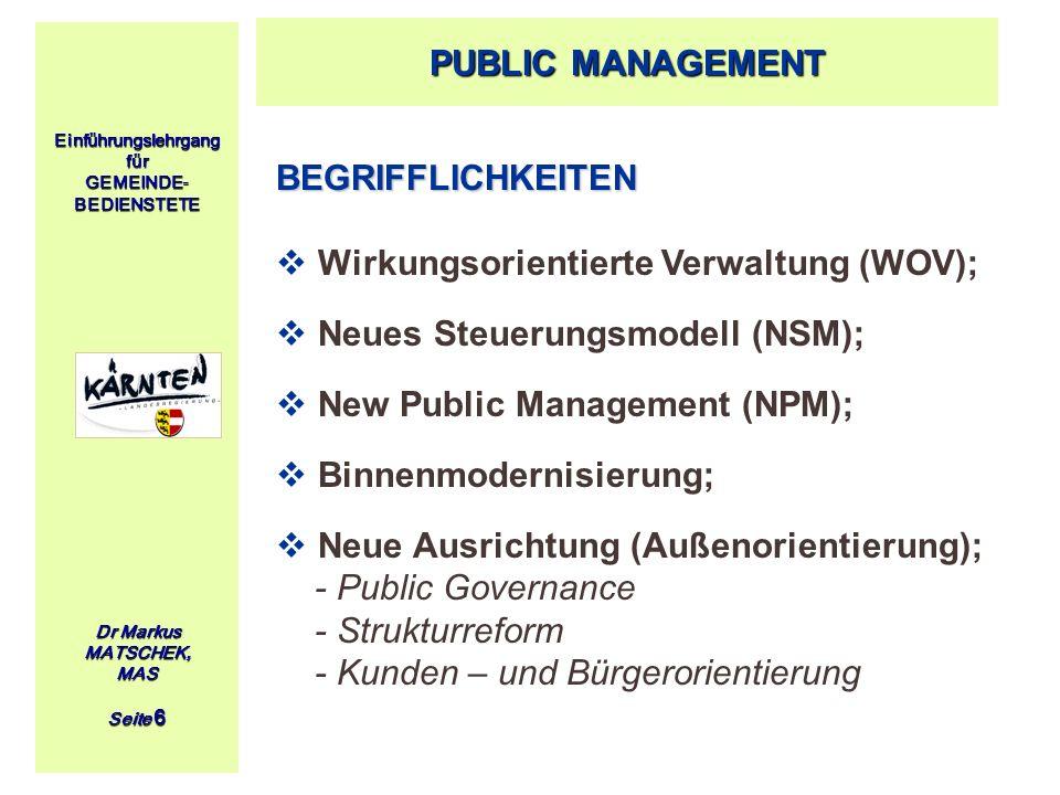 Wirkungsorientierte Verwaltung (WOV); Neues Steuerungsmodell (NSM);
