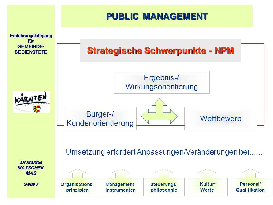 Strategische Schwerpunkte - NPM