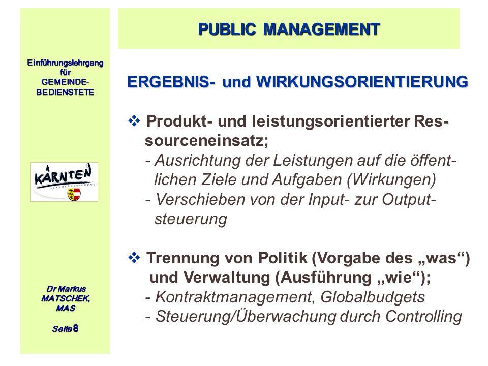 ERGEBNIS- und WIRKUNGSORIENTIERUNG