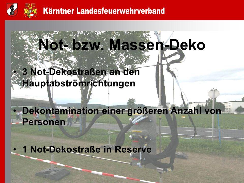 Not- bzw. Massen-Deko 3 Not-Dekostraßen an den Hauptabströmrichtungen