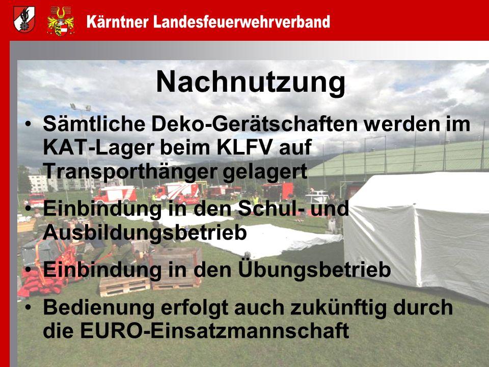 Nachnutzung Sämtliche Deko-Gerätschaften werden im KAT-Lager beim KLFV auf Transporthänger gelagert.