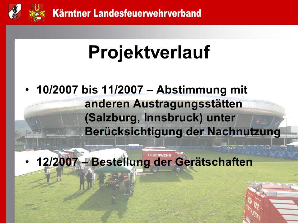 Projektverlauf 10/2007 bis 11/2007 – Abstimmung mit anderen Austragungsstätten (Salzburg, Innsbruck) unter Berücksichtigung der Nachnutzung.