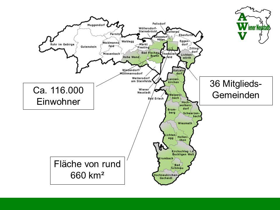 36 Mitglieds-Gemeinden Ca. 116.000 Einwohner Fläche von rund 660 km²