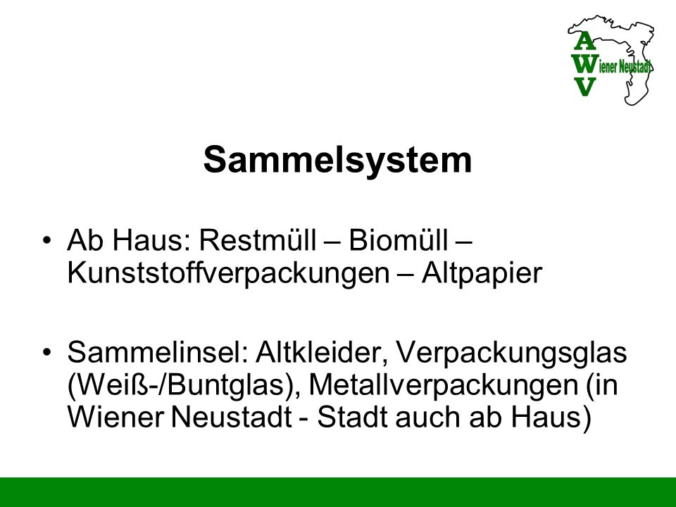 Sammelsystem Ab Haus: Restmüll – Biomüll – Kunststoffverpackungen – Altpapier.