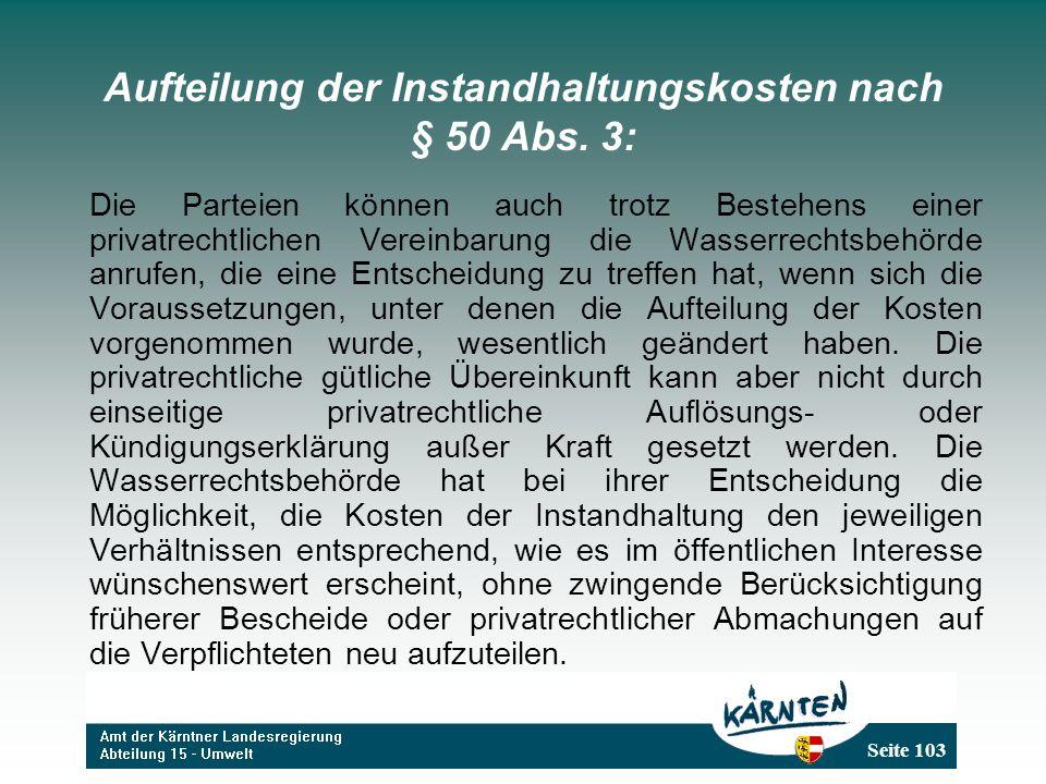 Aufteilung der Instandhaltungskosten nach § 50 Abs. 3: