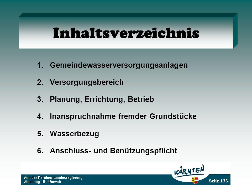 Inhaltsverzeichnis Gemeindewasserversorgungsanlagen Versorgungsbereich