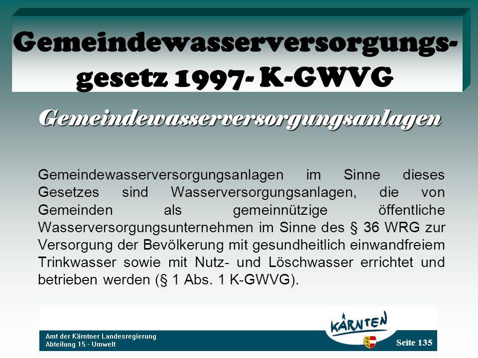 Gemeindewasserversorgungs-gesetz 1997- K-GWVG
