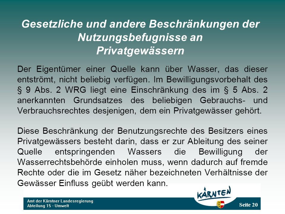 Gesetzliche und andere Beschränkungen der Nutzungsbefugnisse an Privatgewässern