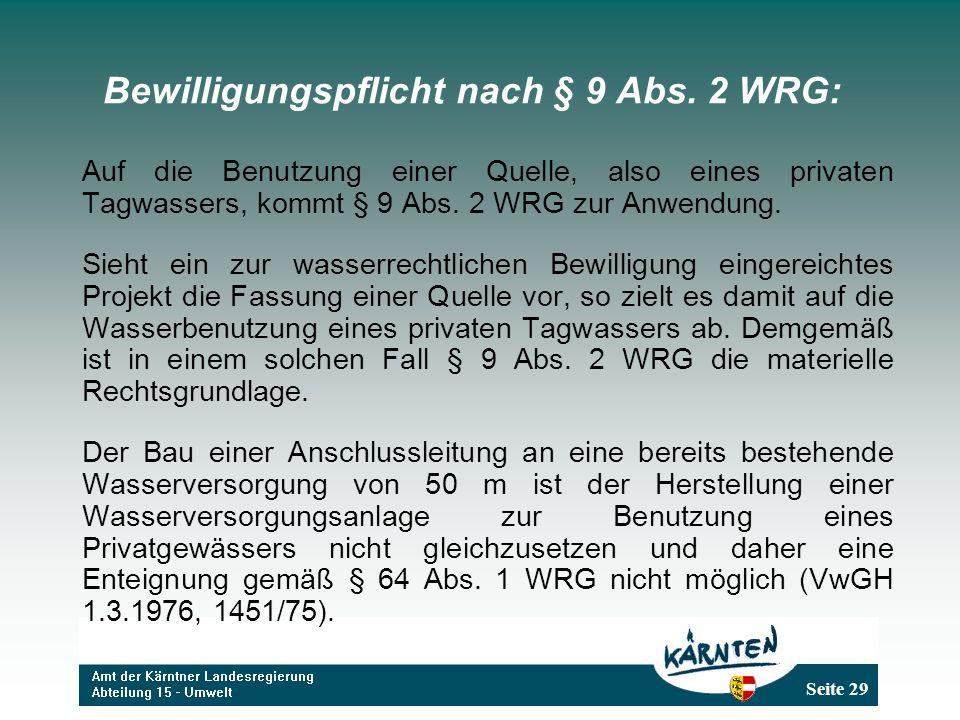 Bewilligungspflicht nach § 9 Abs. 2 WRG: