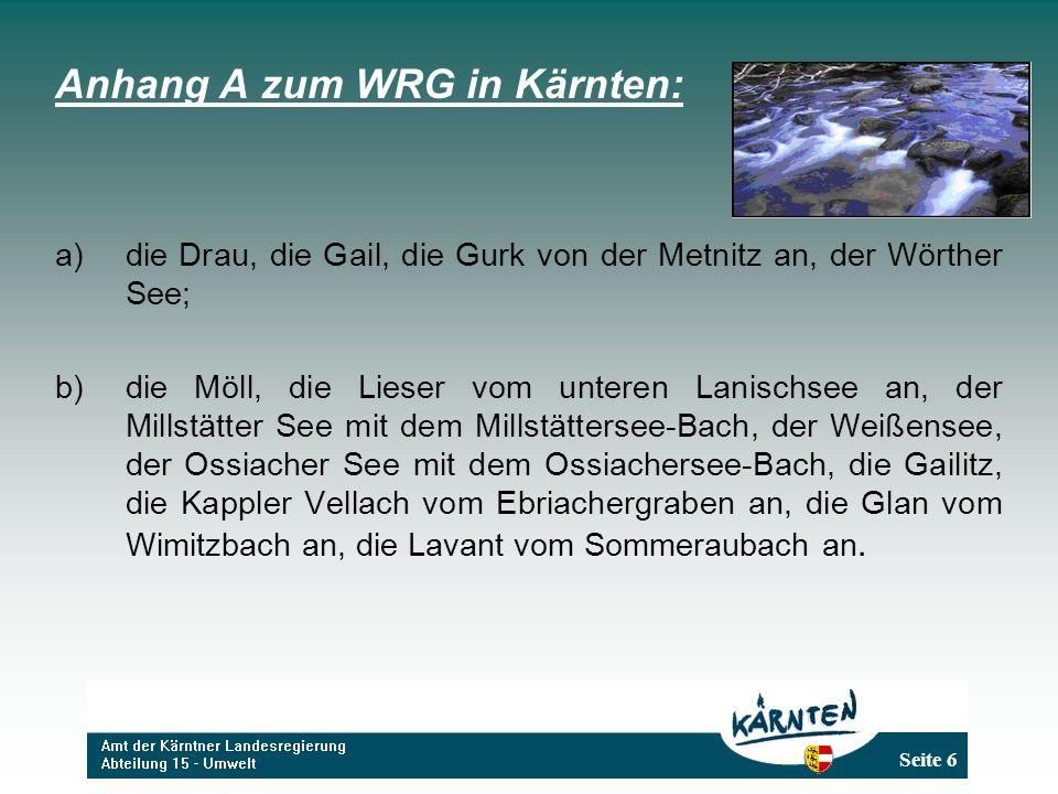Anhang A zum WRG in Kärnten: