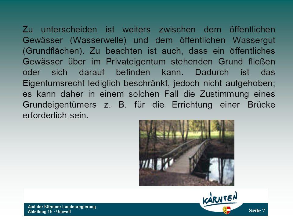 Zu unterscheiden ist weiters zwischen dem öffentlichen Gewässer (Wasserwelle) und dem öffentlichen Wassergut (Grundflächen).