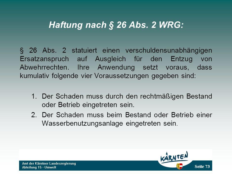 Haftung nach § 26 Abs. 2 WRG: