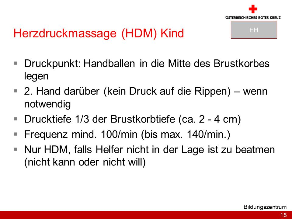 Herzdruckmassage (HDM) Kind