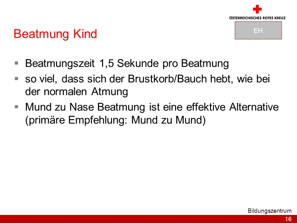Beatmung Kind Beatmungszeit 1,5 Sekunde pro Beatmung