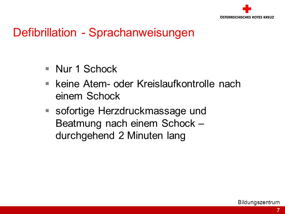 Defibrillation - Sprachanweisungen