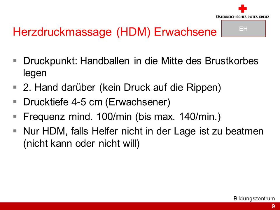 Herzdruckmassage (HDM) Erwachsene