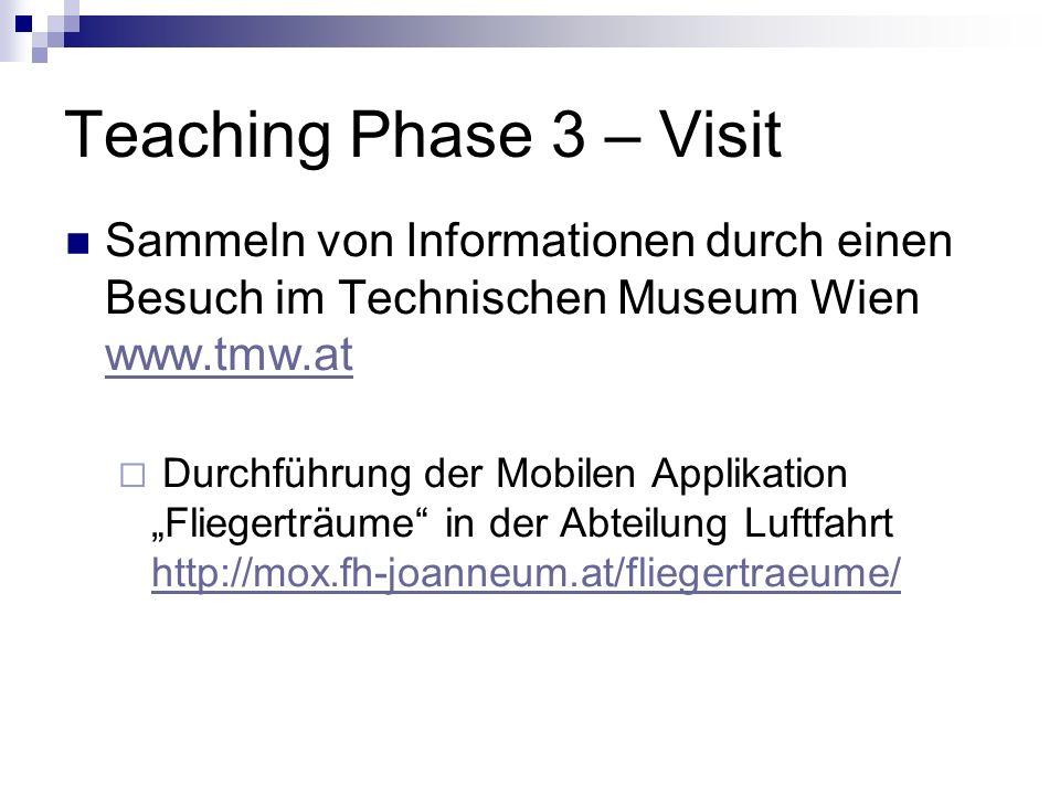 Teaching Phase 3 – Visit Sammeln von Informationen durch einen Besuch im Technischen Museum Wien www.tmw.at.