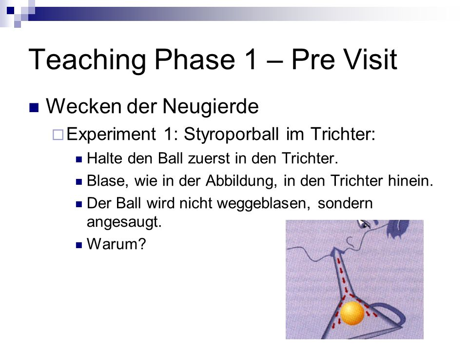 Teaching Phase 1 – Pre Visit