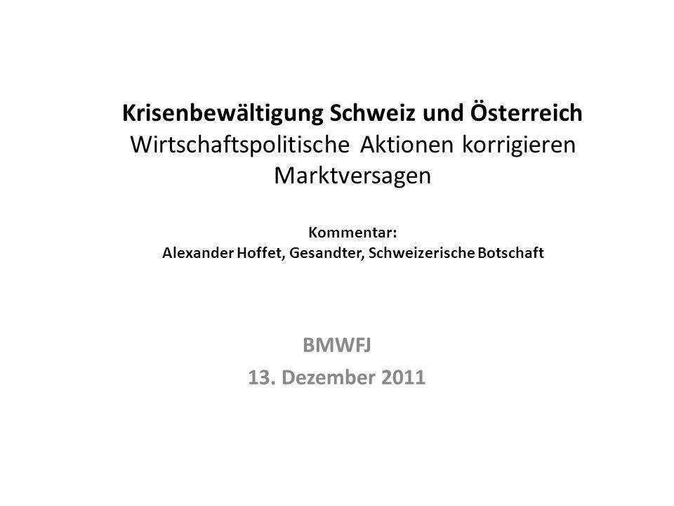 Krisenbewältigung Schweiz und Österreich Wirtschaftspolitische Aktionen korrigieren Marktversagen Kommentar: Alexander Hoffet, Gesandter, Schweizerische Botschaft