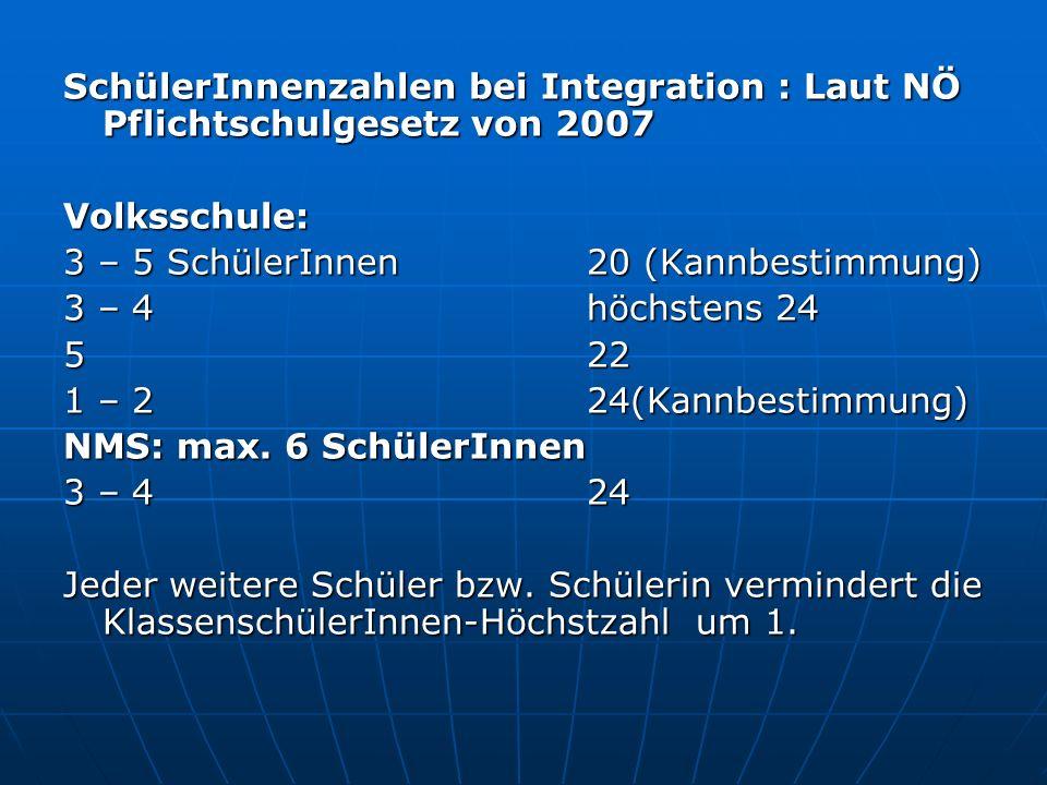 SchülerInnenzahlen bei Integration : Laut NÖ Pflichtschulgesetz von 2007