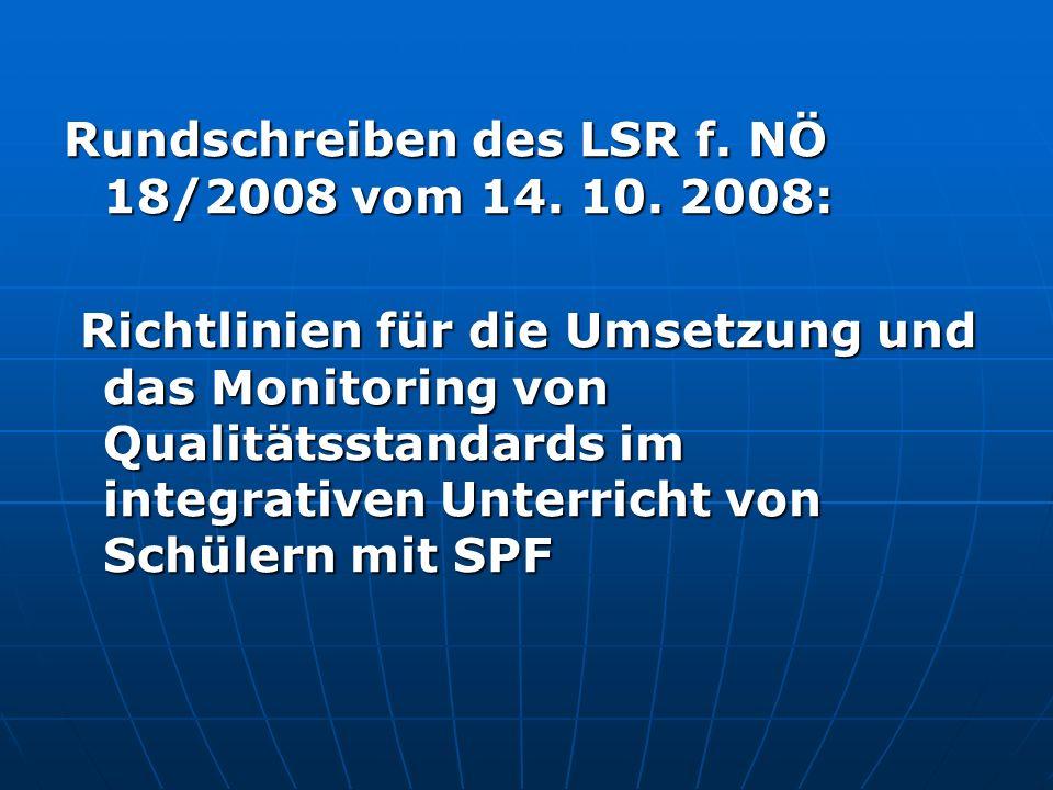 Rundschreiben des LSR f. NÖ 18/2008 vom 14. 10. 2008: