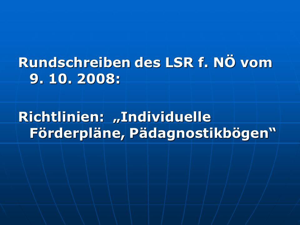 Rundschreiben des LSR f. NÖ vom 9. 10. 2008: