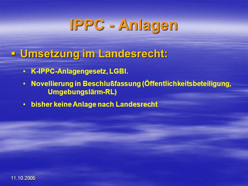 IPPC - Anlagen Umsetzung im Landesrecht: K-IPPC-Anlagengesetz, LGBl.
