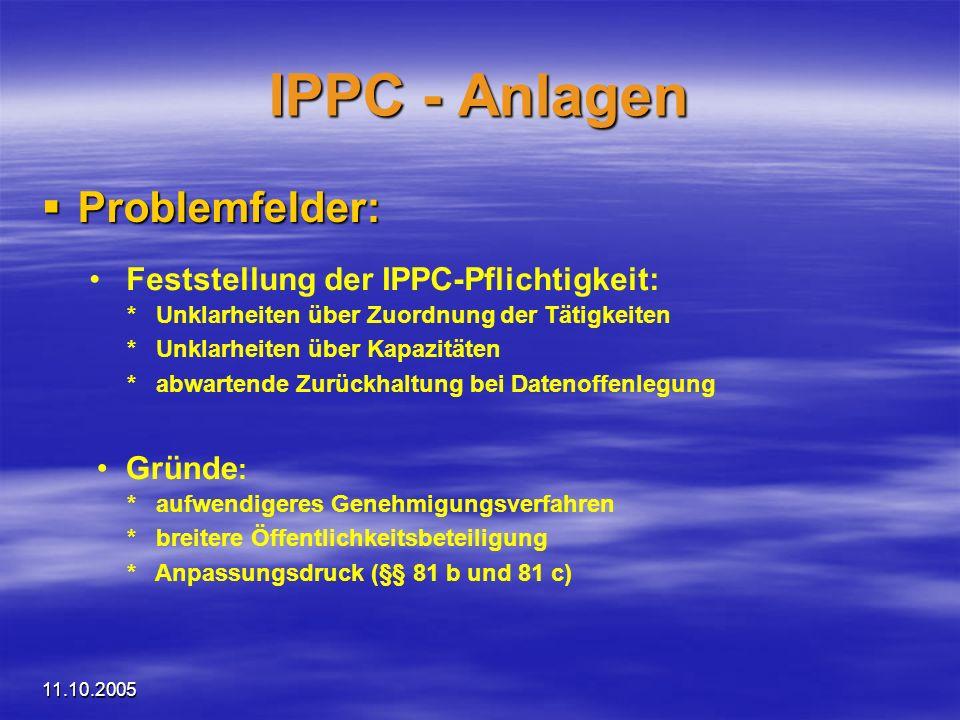 IPPC - Anlagen Problemfelder: Feststellung der IPPC-Pflichtigkeit: