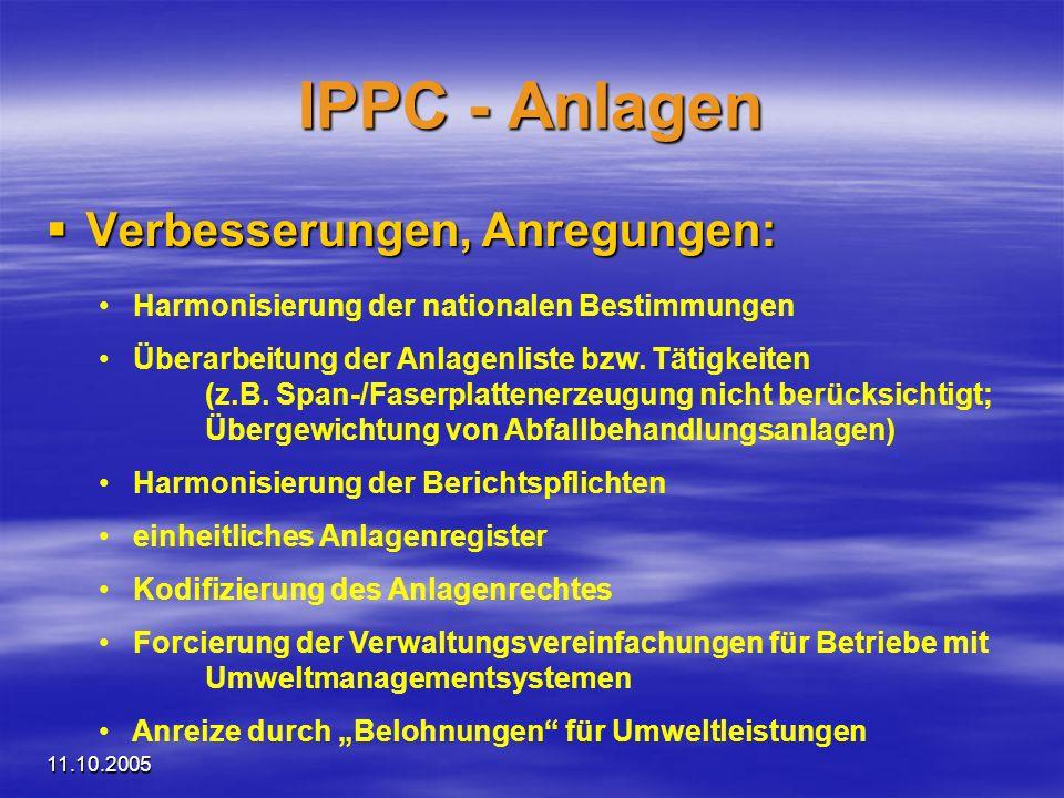IPPC - Anlagen Verbesserungen, Anregungen:
