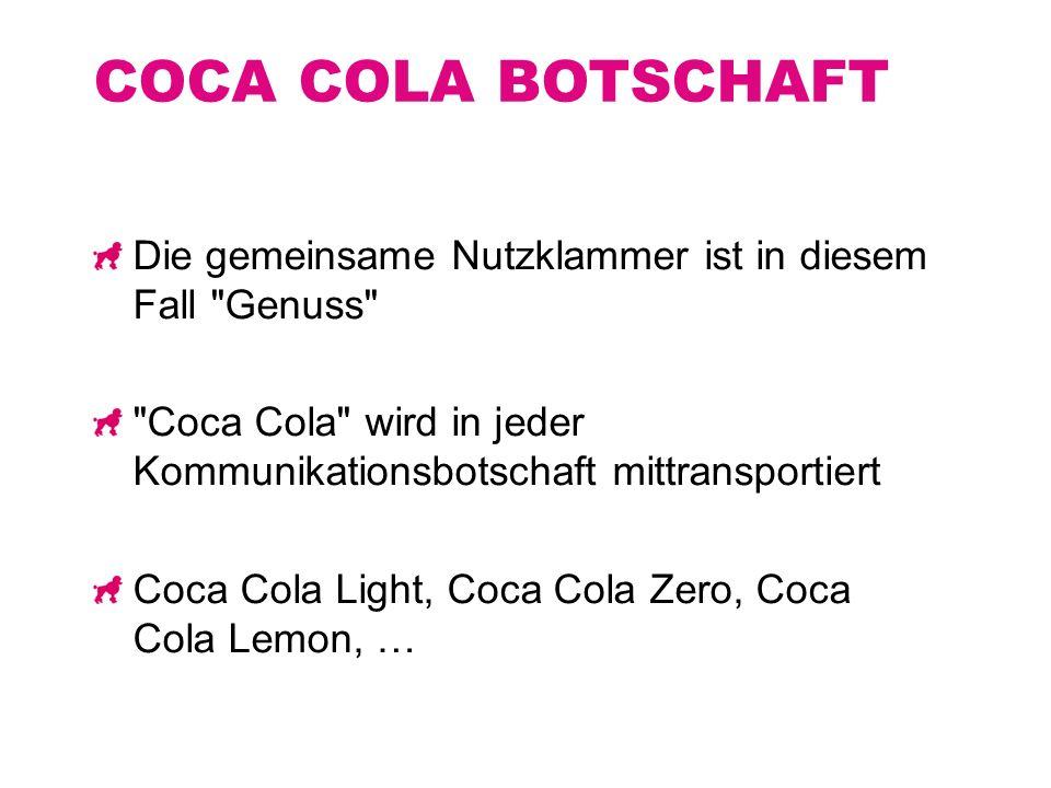 COCA COLA BOTSCHAFT Die gemeinsame Nutzklammer ist in diesem Fall Genuss Coca Cola wird in jeder Kommunikationsbotschaft mittransportiert.