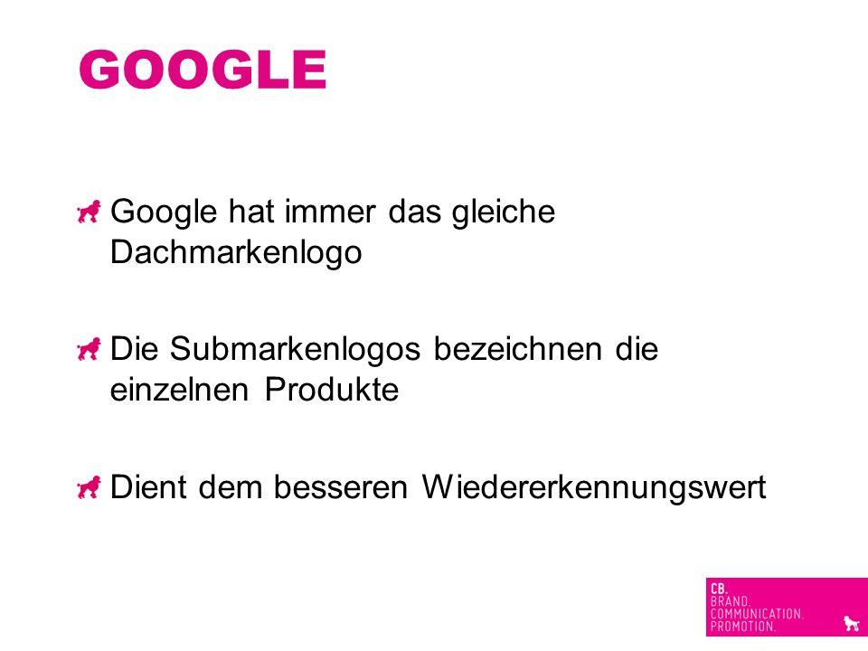 GOOGLE Google hat immer das gleiche Dachmarkenlogo