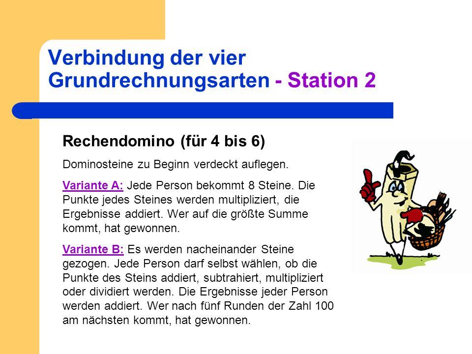 Verbindung der vier Grundrechnungsarten - Station 2