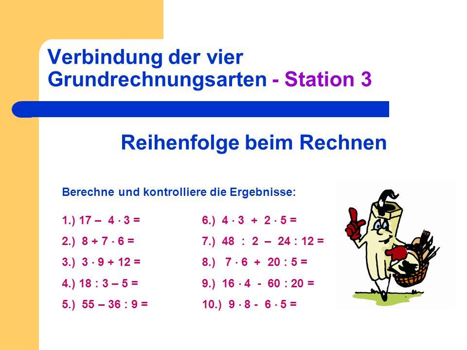Verbindung der vier Grundrechnungsarten - Station 3