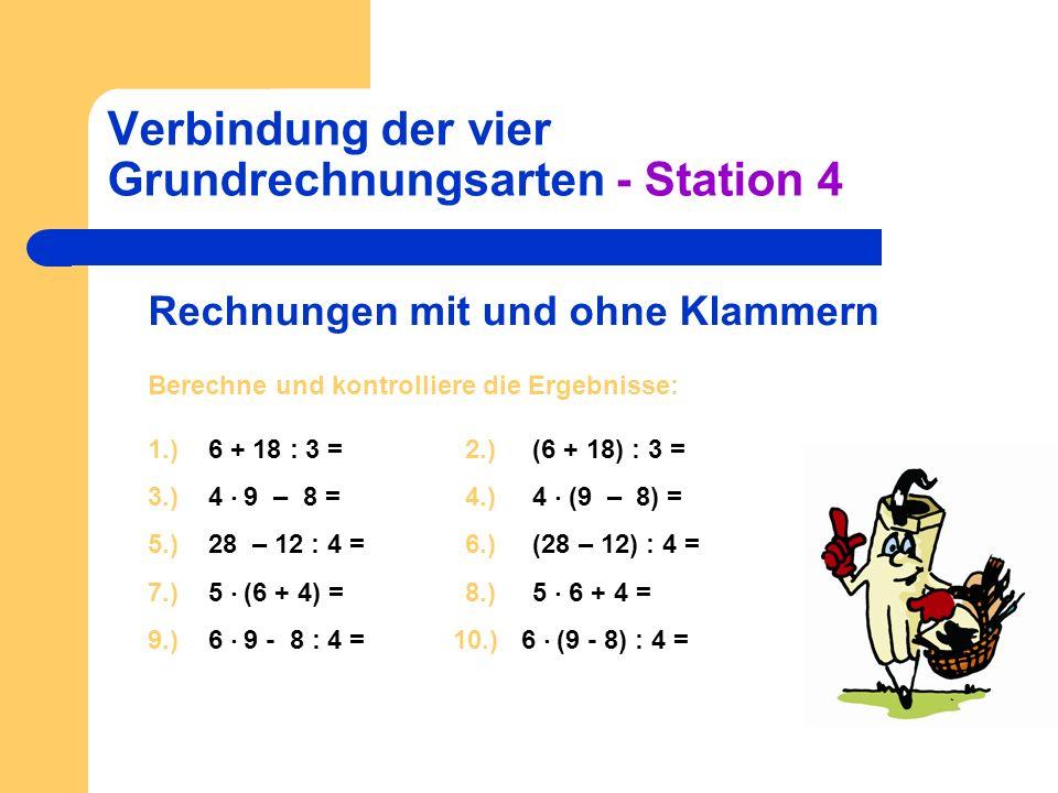 Verbindung der vier Grundrechnungsarten - Station 4