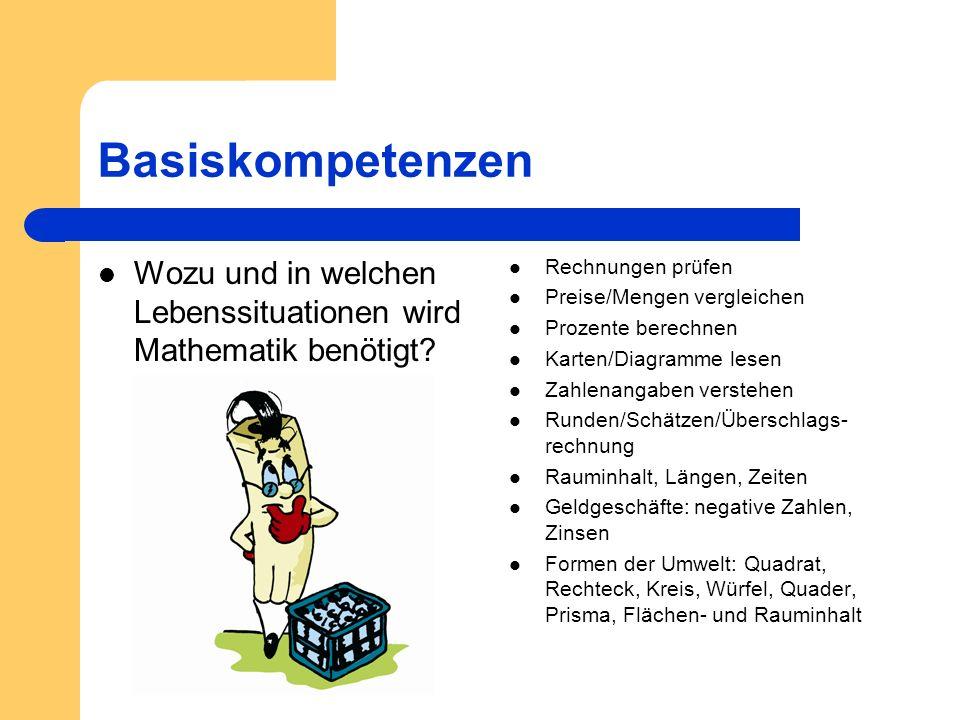 Basiskompetenzen Wozu und in welchen Lebenssituationen wird Mathematik benötigt Rechnungen prüfen.