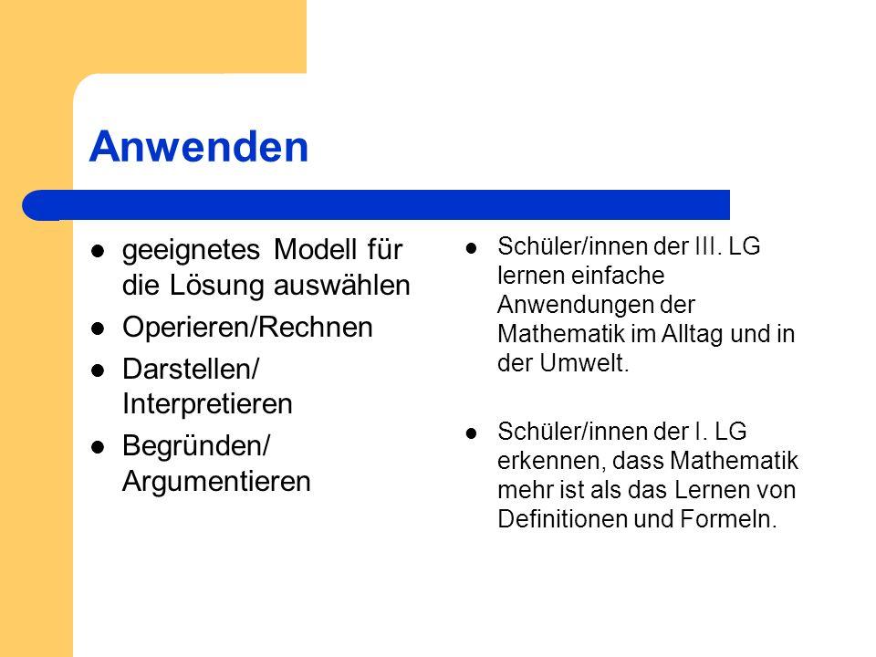 Anwenden geeignetes Modell für die Lösung auswählen Operieren/Rechnen